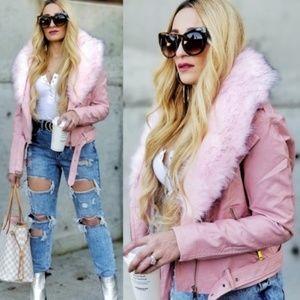 Pink Faux Fur/Vegan Leather Coat Jacket